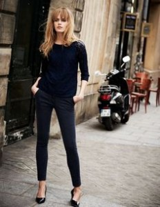 coppred pants and heels